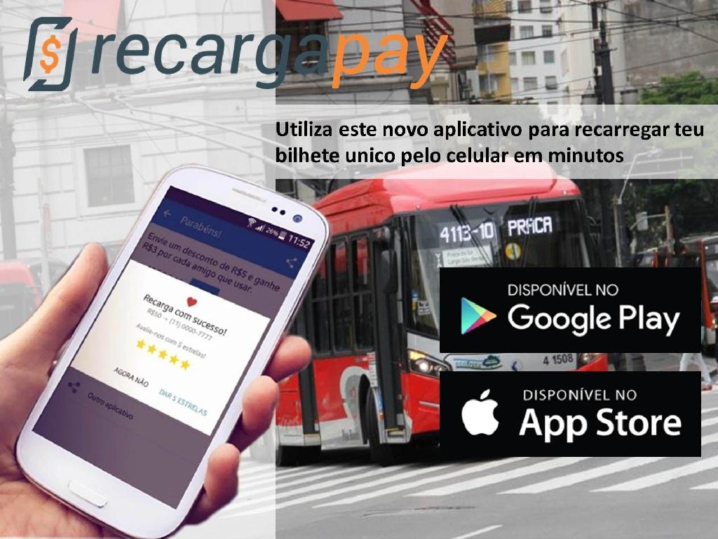 Recarga teu bilhete único com o aplicativo pelo celular