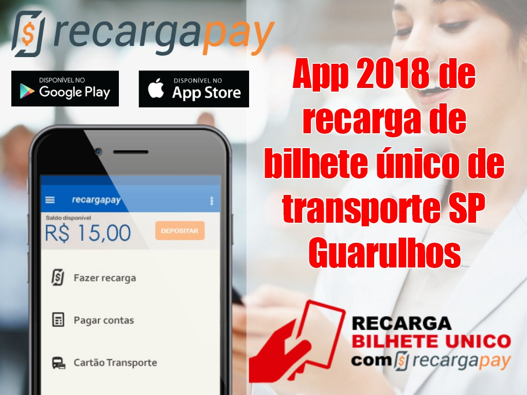 App 2018 de recarga de bilhete único de transporte SP Guarulhos