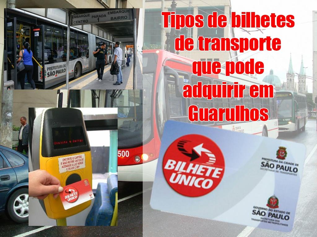 Tipos de bilhetes de transporte que pode adquirir em Guarulhos