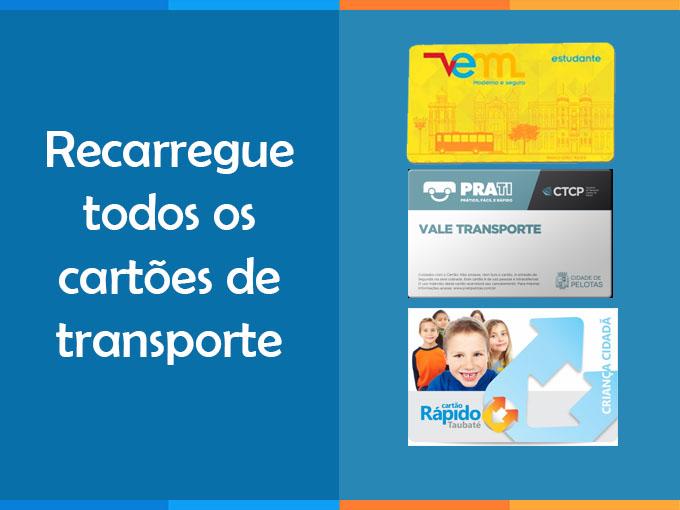 Recarregue todos oscartões de transporte