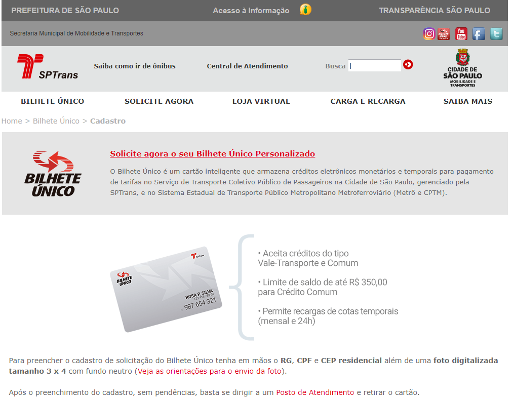 bilhete único personalizado através de SPTrans
